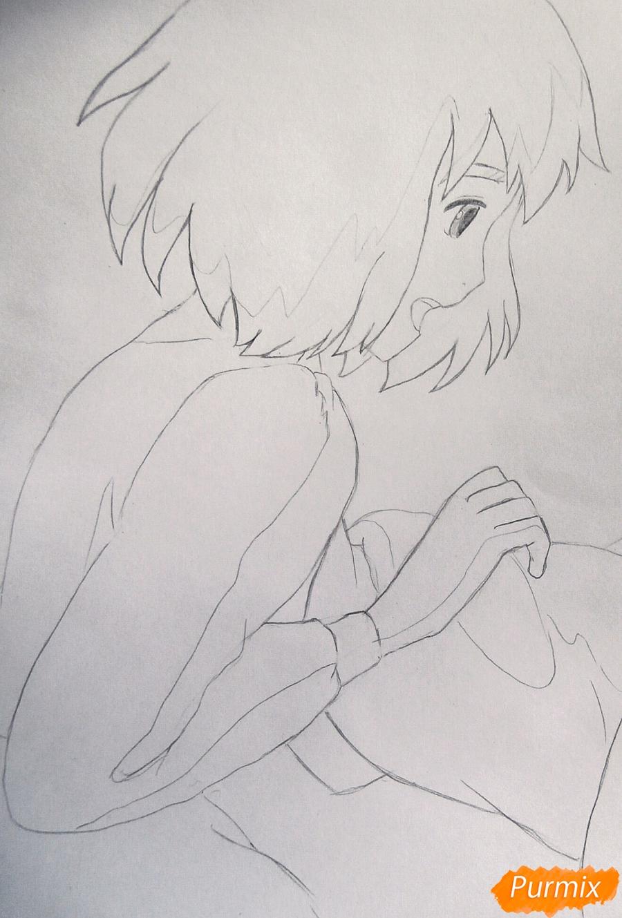 Рисуем Хаула и Софи из аниме Ходячий замок Хаула - фото 6
