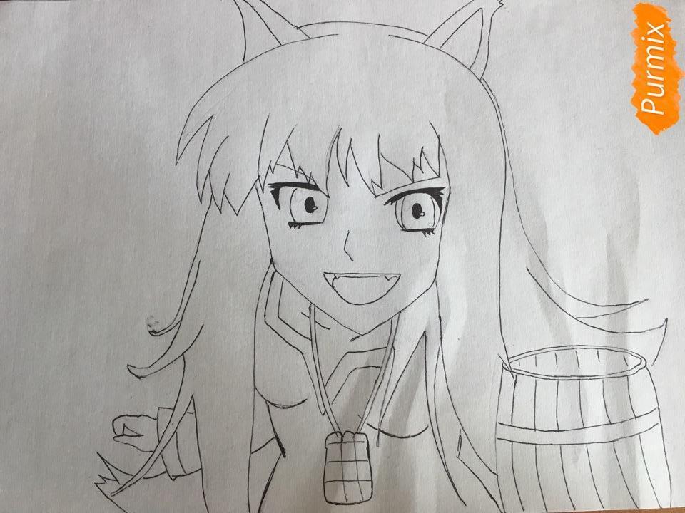 Рисуем Холо из аниме Волчица и пряности карандашами - фото 5