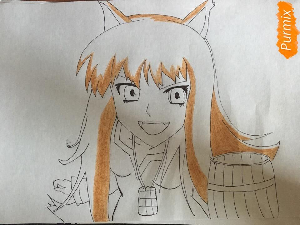 Рисуем Холо из аниме Волчица и пряности карандашами - фото 6