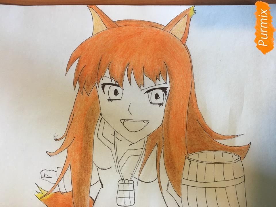 Рисуем Холо из аниме Волчица и пряности карандашами - фото 7