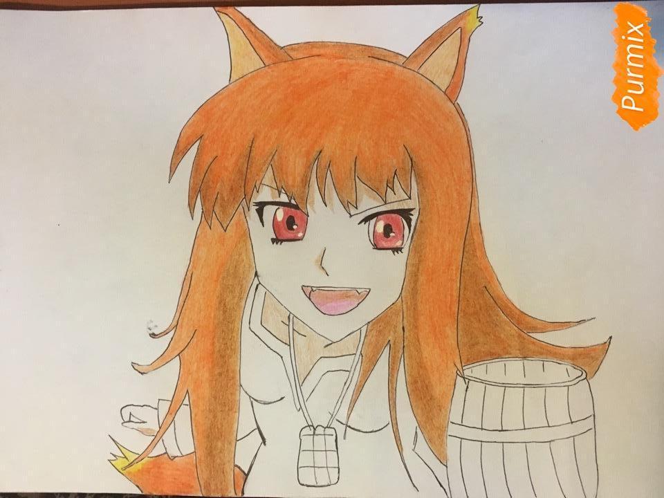 Рисуем Холо из аниме Волчица и пряности карандашами - фото 8