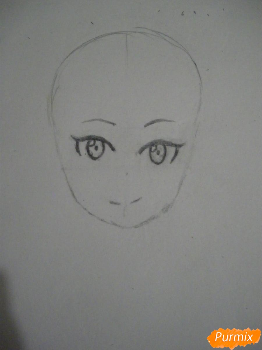 Рисуем хуманизацию арбуза с стиле аниме цветными карандашами - шаг 2