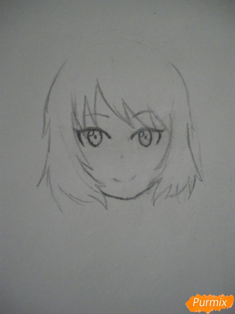 Рисуем хуманизацию арбуза с стиле аниме цветными карандашами - фото 3