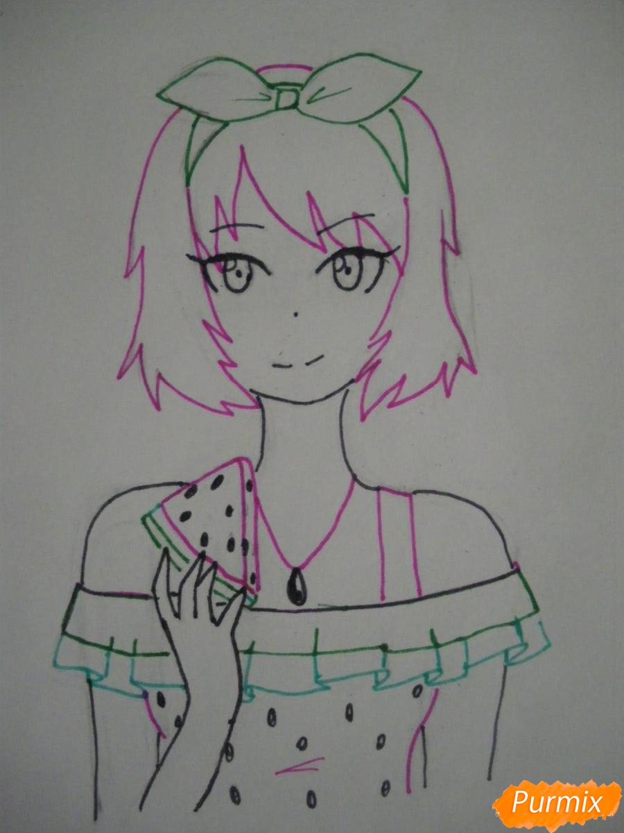 Рисуем хуманизацию арбуза с стиле аниме цветными карандашами - шаг 7