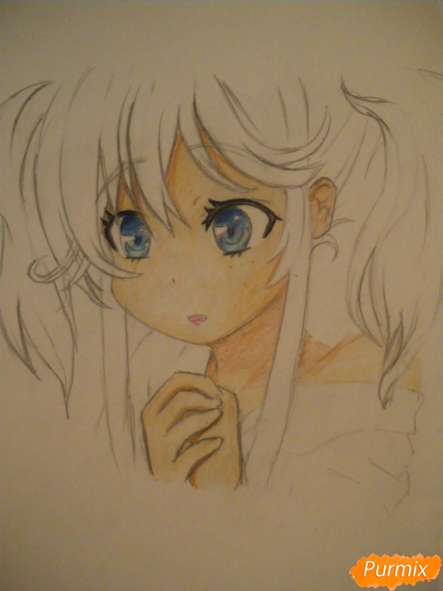 Рисуем и раскрасить аниме девочку с синими волосами - шаг 10