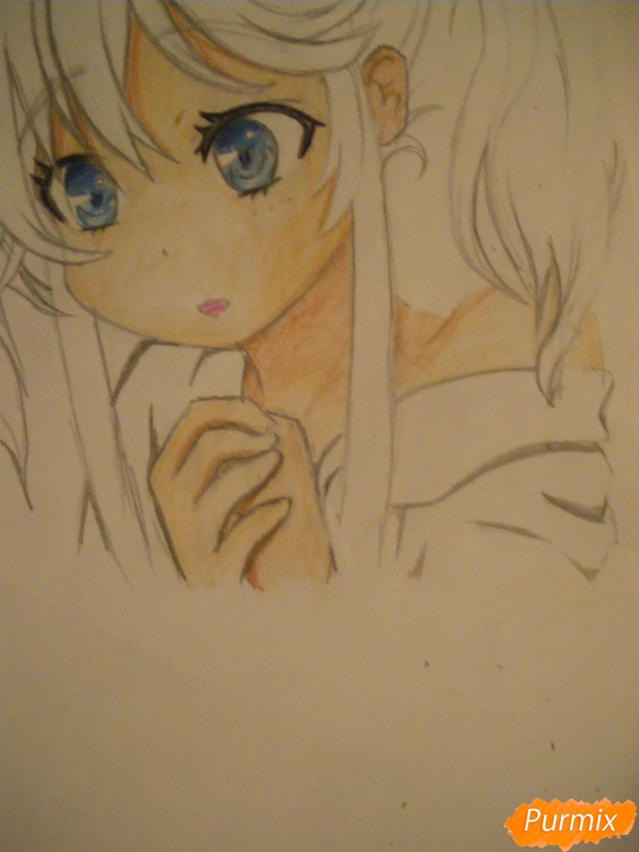 Рисуем и раскрасить аниме девочку с синими волосами - шаг 11
