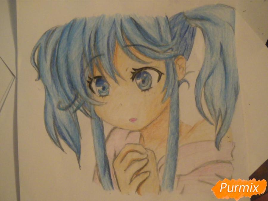 Как нарисовать и раскрасить аниме девочку с синими волосами поэтапно