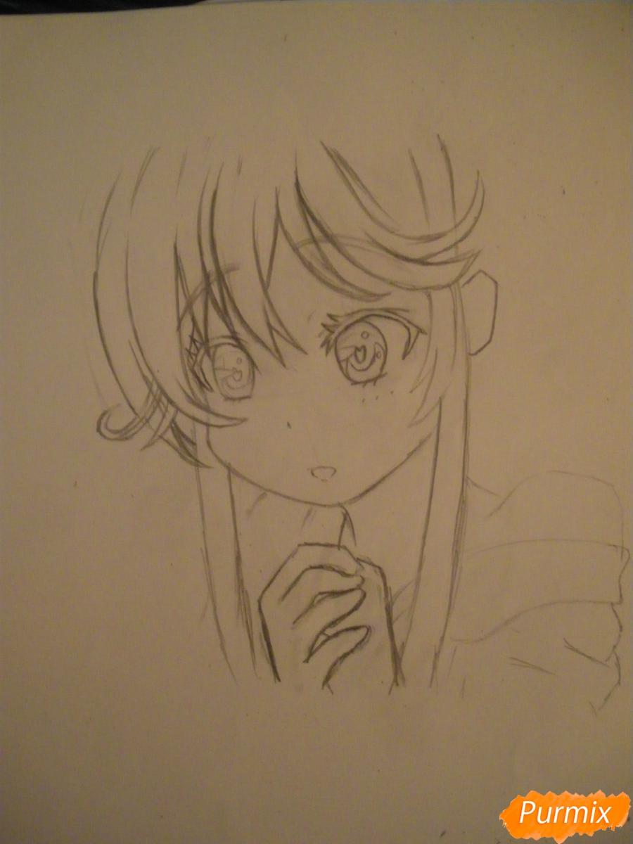 Рисуем и раскрасить аниме девочку с синими волосами - шаг 5
