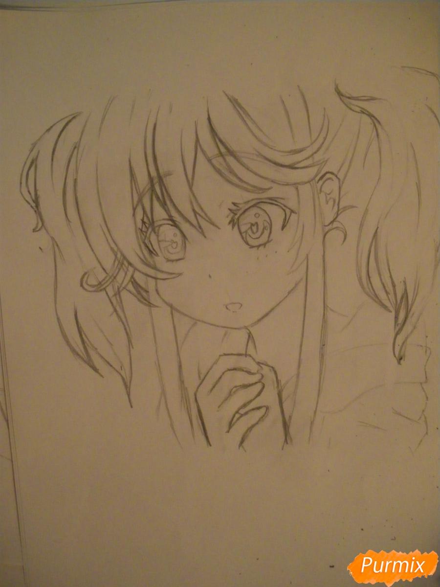 Рисуем и раскрасить аниме девочку с синими волосами - шаг 6