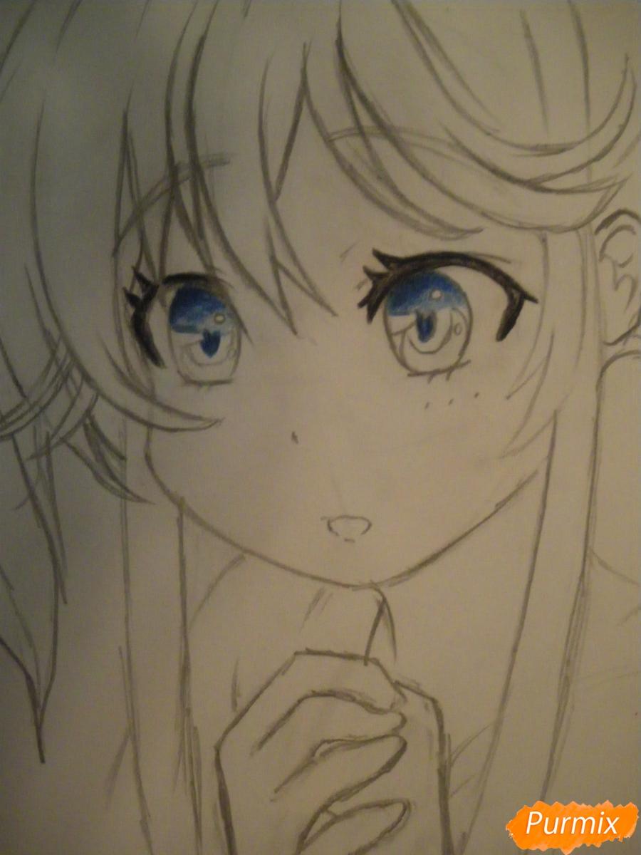 Рисуем и раскрасить аниме девочку с синими волосами - шаг 7