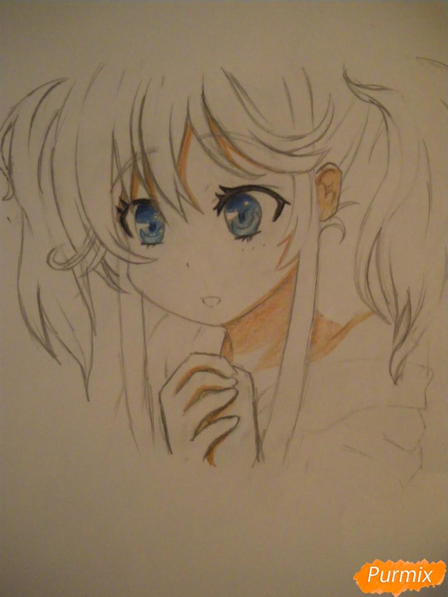 Рисуем и раскрасить аниме девочку с синими волосами - шаг 9