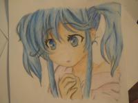 Фото  аниме девочку с синими волосами