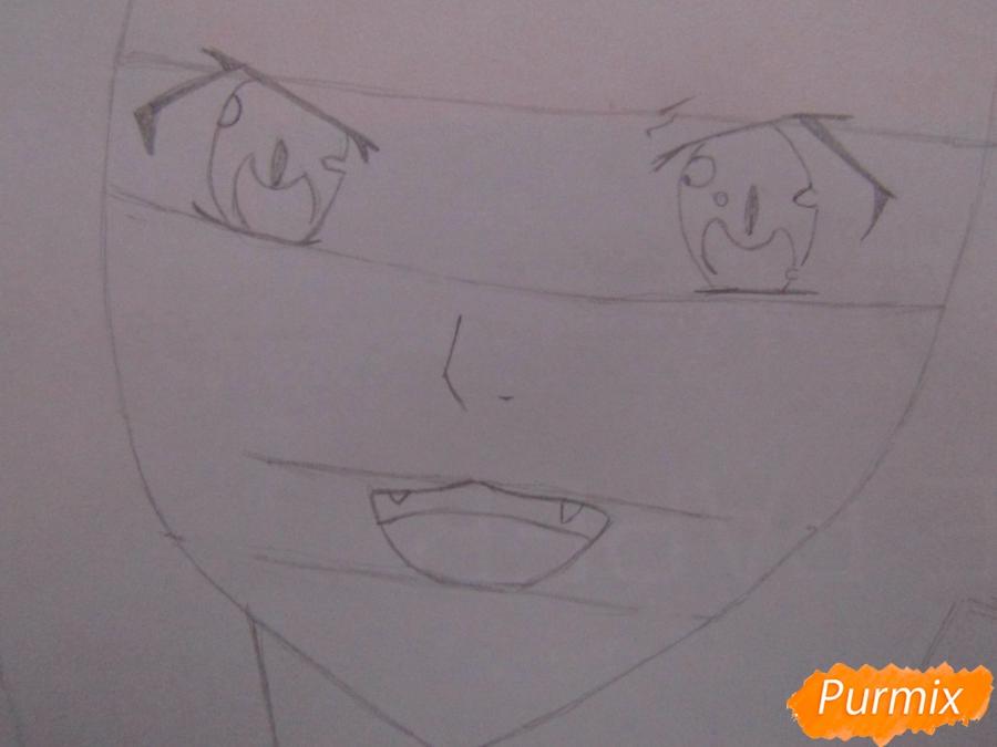 Рисуем аниме персонажа карандашами - шаг 2