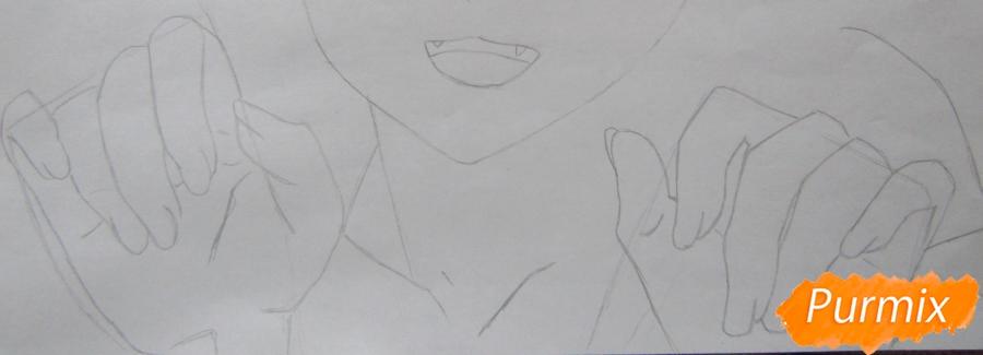 Рисуем аниме персонажа карандашами - шаг 3