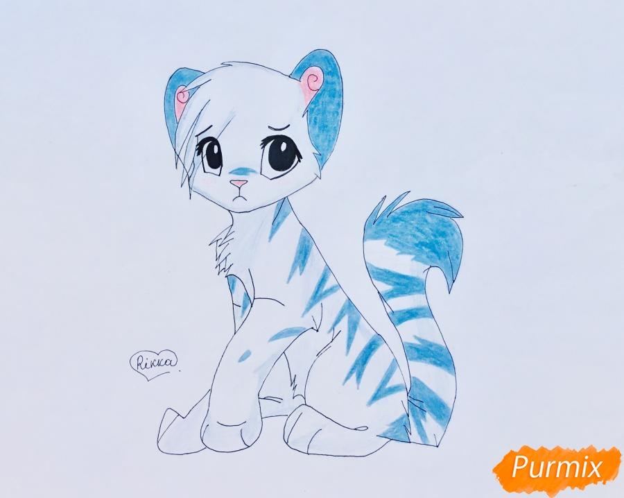 Рисуем и раскрасить бело синего аниме тигренка - фото 10