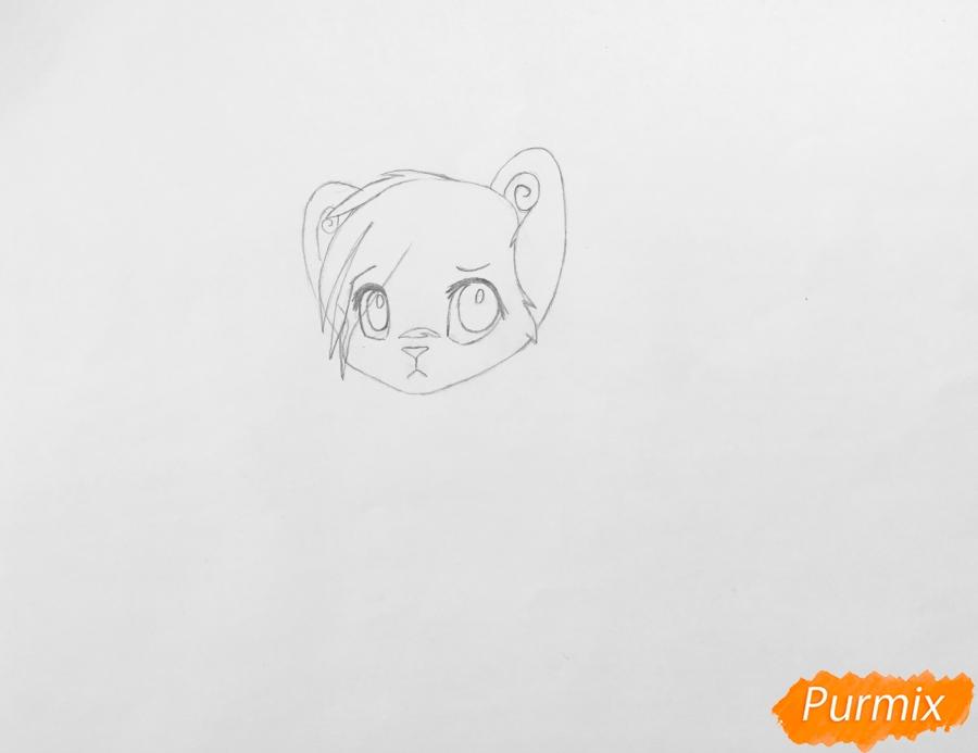 Рисуем и раскрасить бело синего аниме тигренка - фото 3