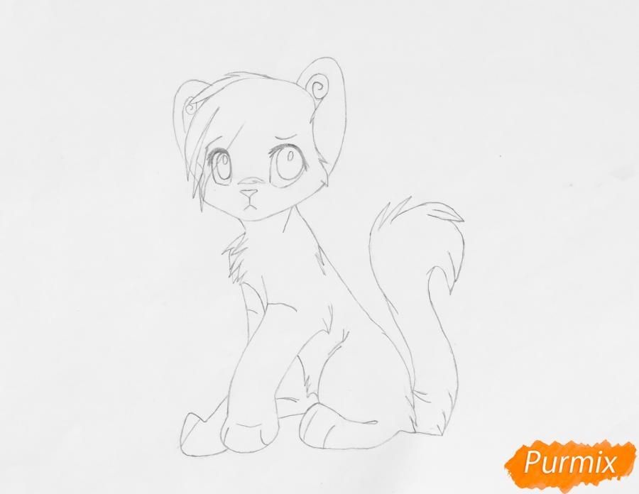 Рисуем и раскрасить бело синего аниме тигренка - фото 6