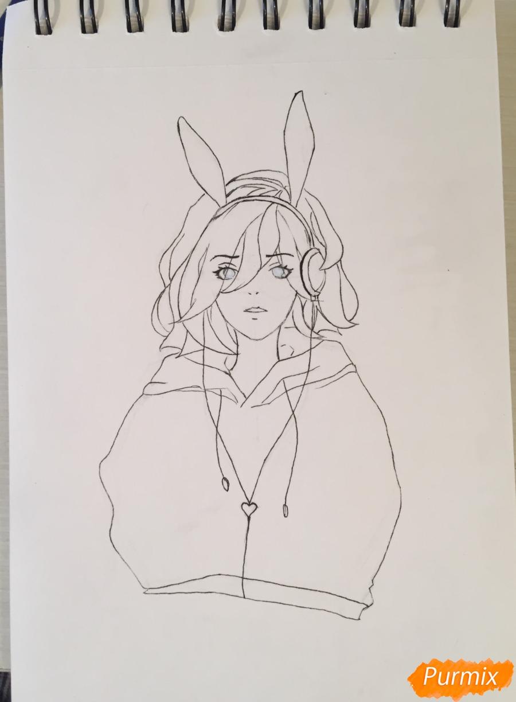 Рисуем и раскрасить девушку-кролика в наушниках карандашами - фото 7