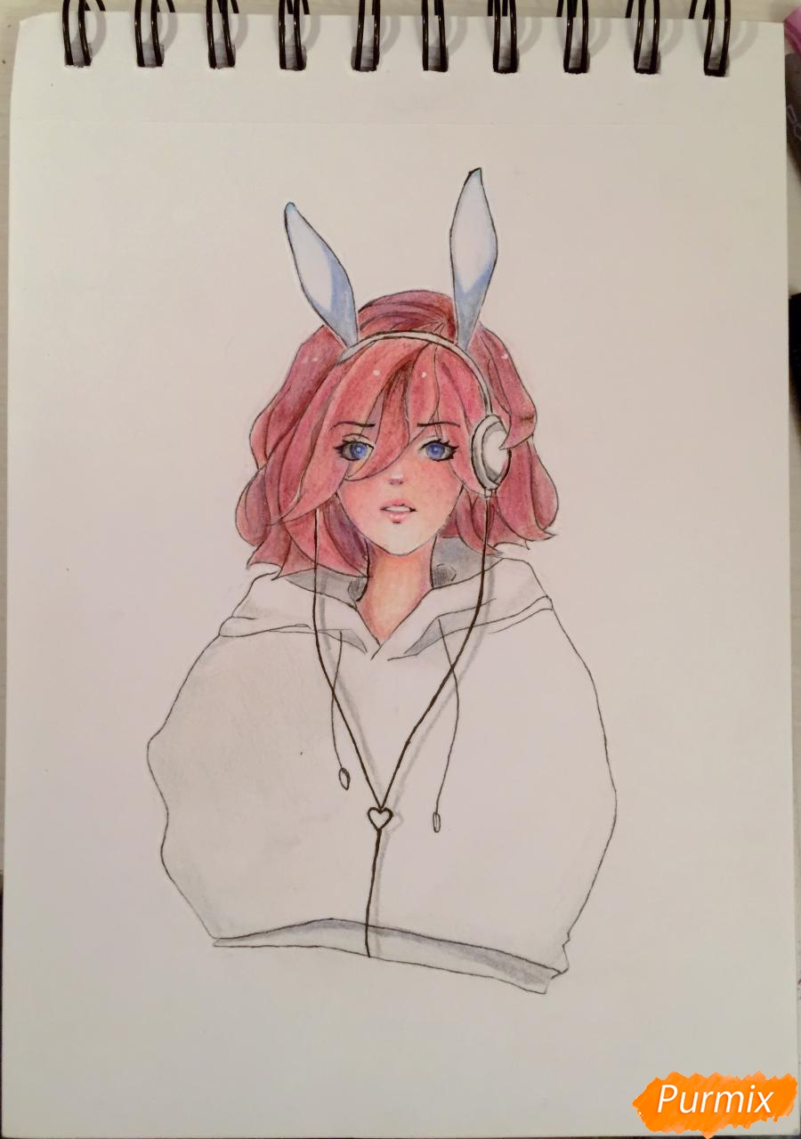 Как нарисовать и раскрасить девушку-кролика в наушниках карандашами
