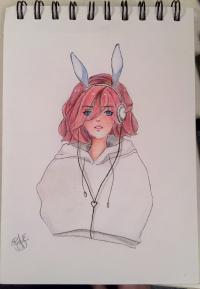 Рисунок и раскрасить девушку-кролика в стиле аниме