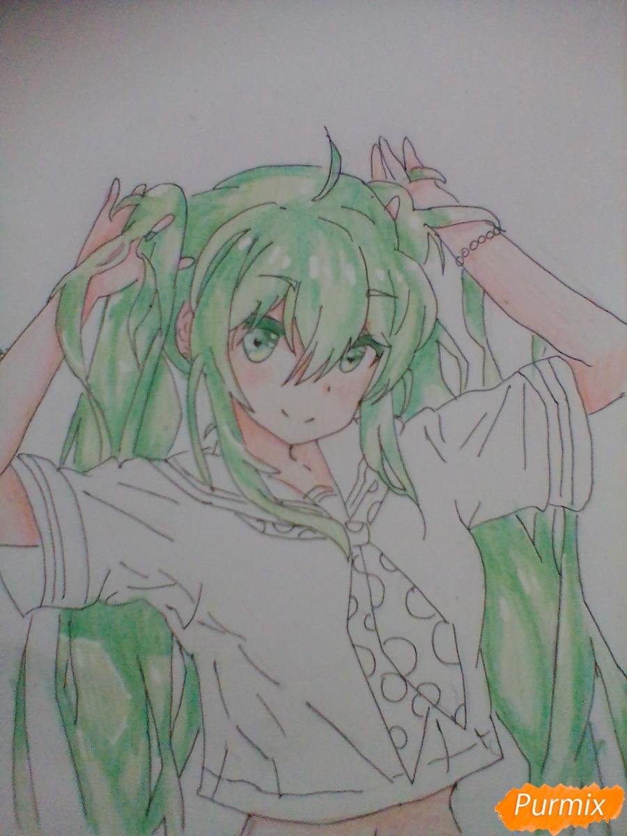 Рисуем Мику Хацунэ с хвостиками - фото 8