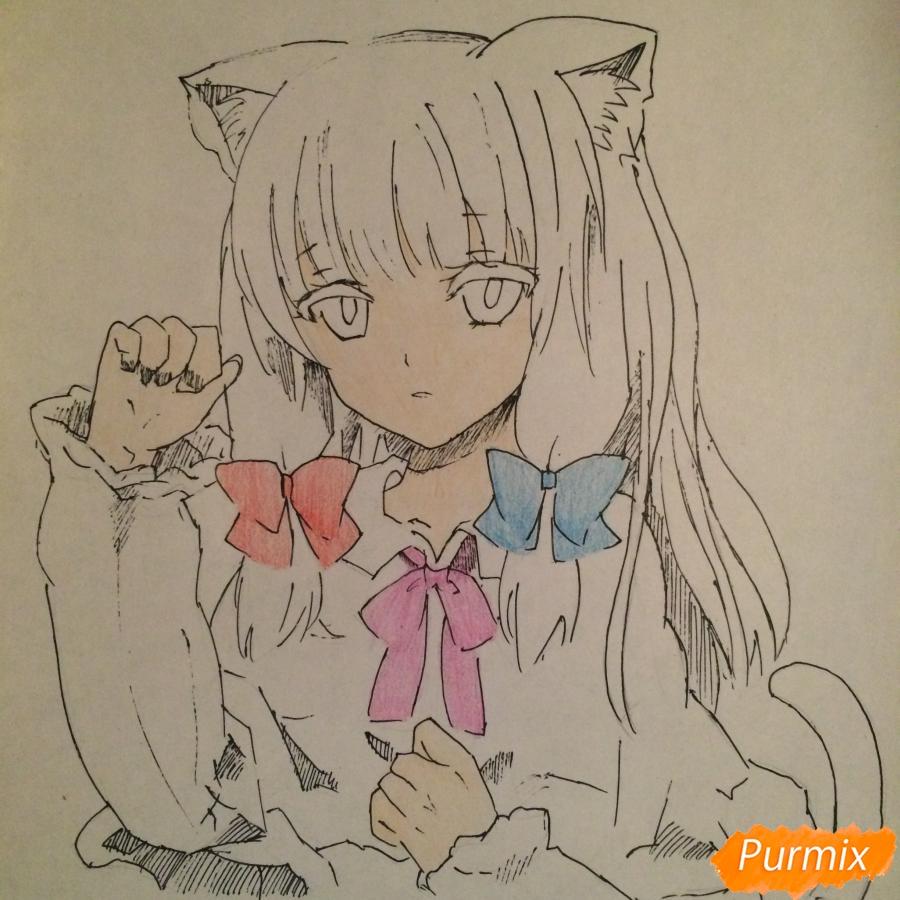 Поэтапно рисуем цветными карандашами милую неко девушку - шаг 10