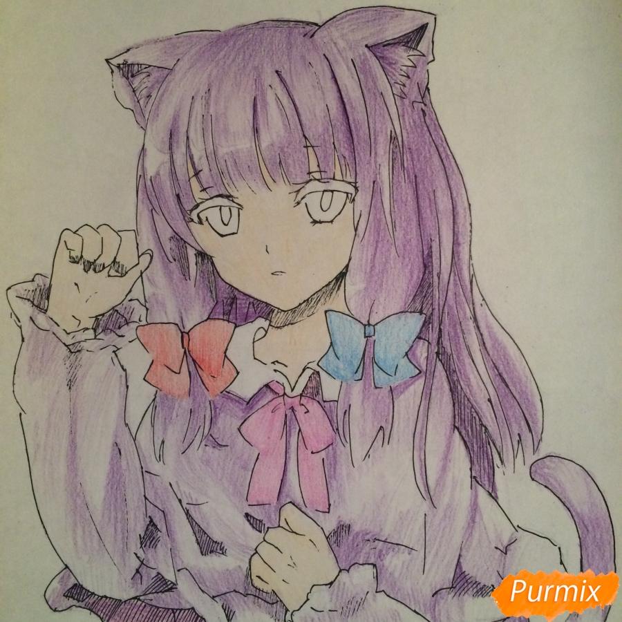 Поэтапно рисуем цветными карандашами милую неко девушку - шаг 12