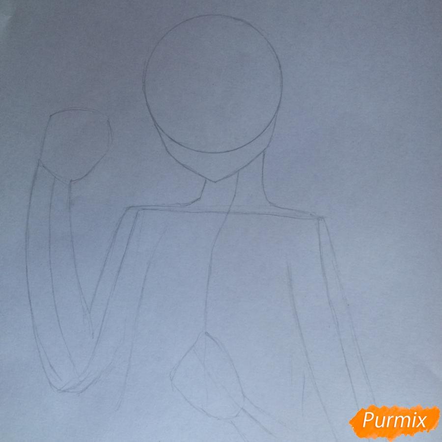 Поэтапно рисуем цветными карандашами милую неко девушку - шаг 3