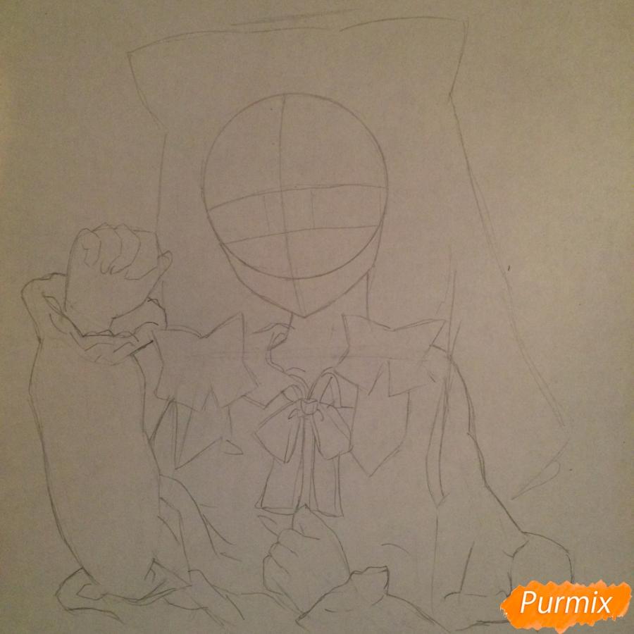 Поэтапно рисуем цветными карандашами милую неко девушку - шаг 6