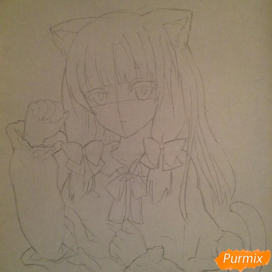 Поэтапно рисуем цветными карандашами милую неко девушку - шаг 8