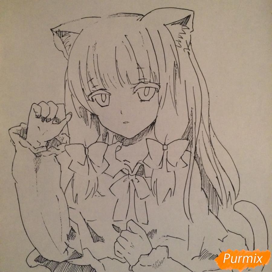 Поэтапно рисуем цветными карандашами милую неко девушку - шаг 9