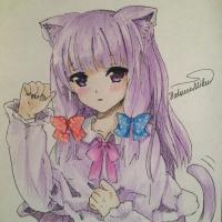 Рисунок и раскрасить милую девушку в стиле аниме