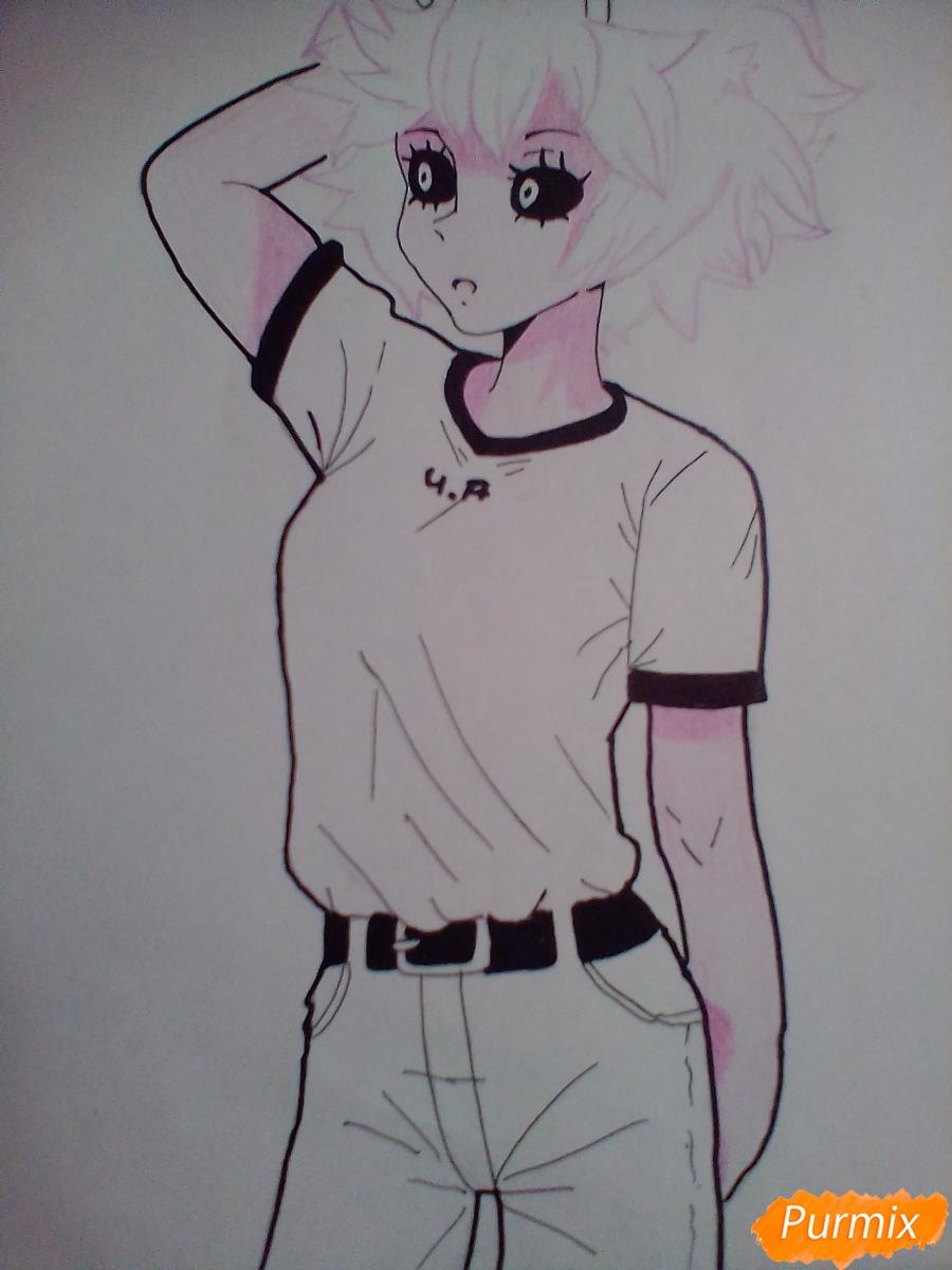 Мину Ашидо в футболке - шаг 10
