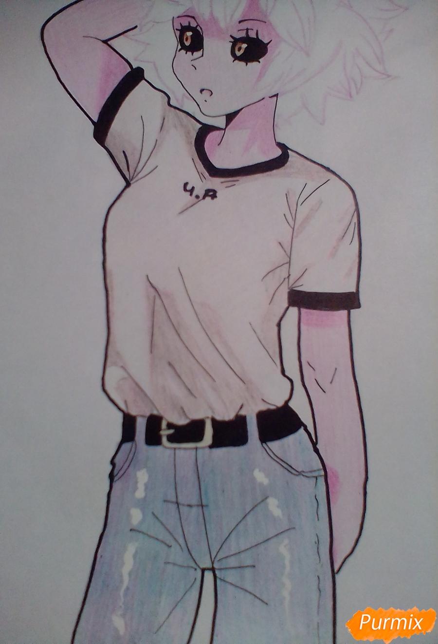 Мину Ашидо в футболке - шаг 13