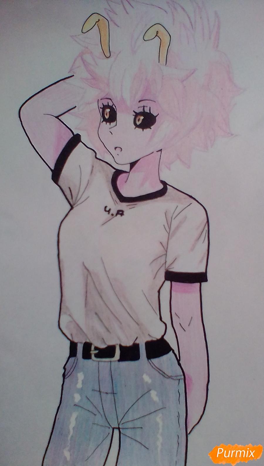 Мину Ашидо в футболке - шаг 14