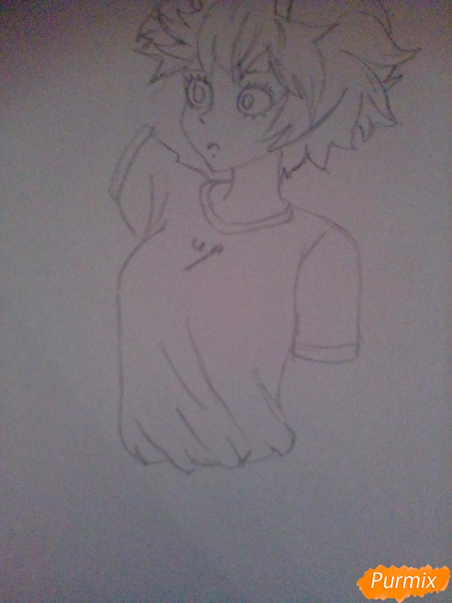 Мину Ашидо в футболке - шаг 5