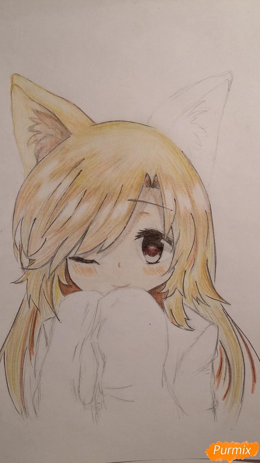 Рисуем и раскрасить неко-тян в юката карандашами - шаг 10
