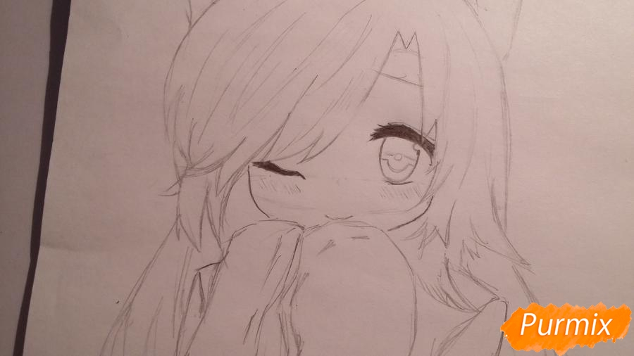Рисуем и раскрасить неко-тян в юката карандашами - шаг 5