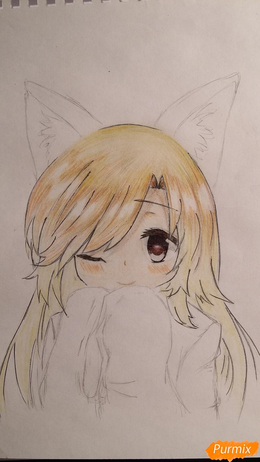 Рисуем и раскрасить неко-тян в юката карандашами - шаг 8