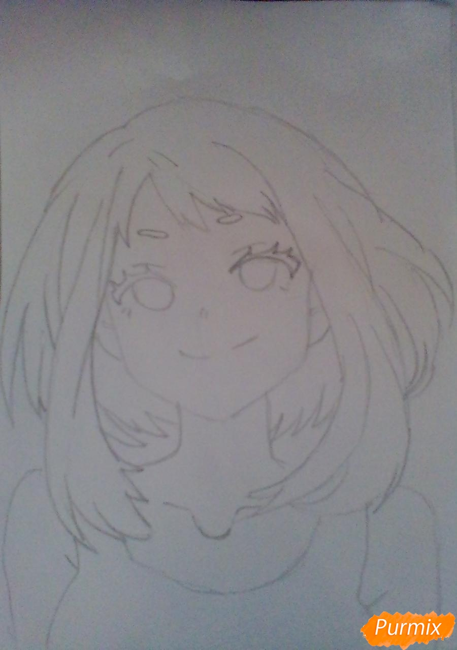 Рисуем портрет Очаки Урараки - фото 7