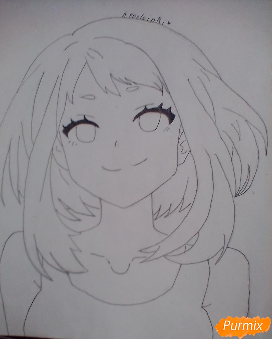 Рисуем портрет Очаки Урараки - фото 8