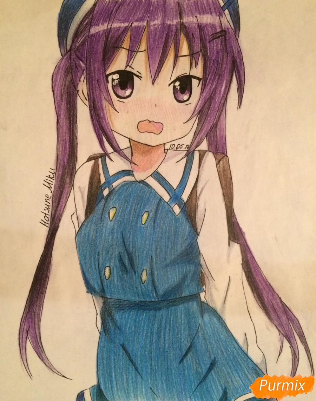 Как нарисовать и раскрасить стесняющуюся аниме девочку карандашами поэтапно