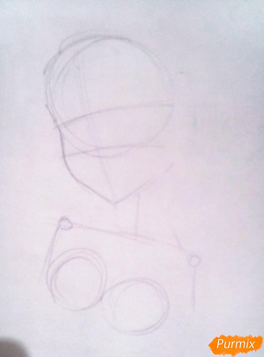 Рисуем Ичиго из аниме Милый Во Франксе карандашами - шаг 1