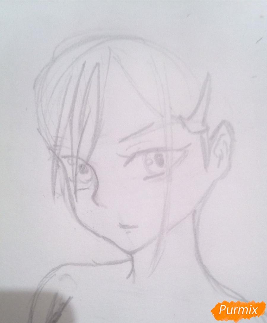 Рисуем Ичиго из аниме Милый Во Франксе карандашами - шаг 3