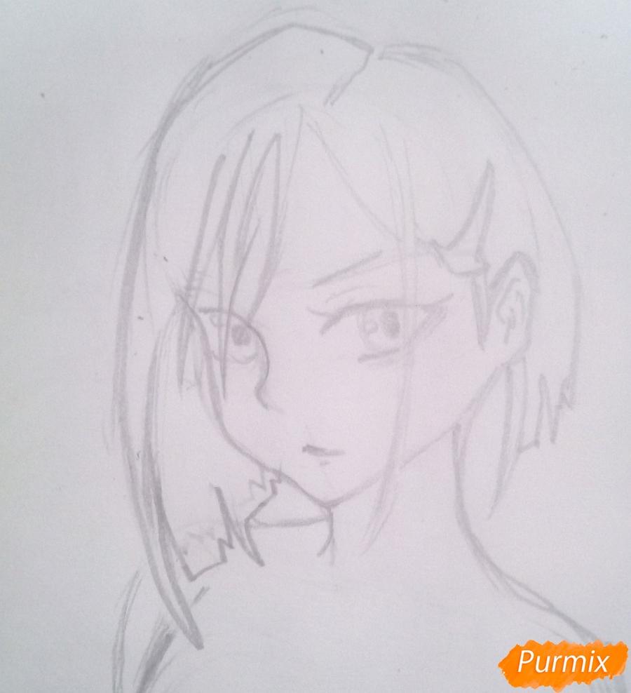 Рисуем Ичиго из аниме Милый Во Франксе карандашами - шаг 4