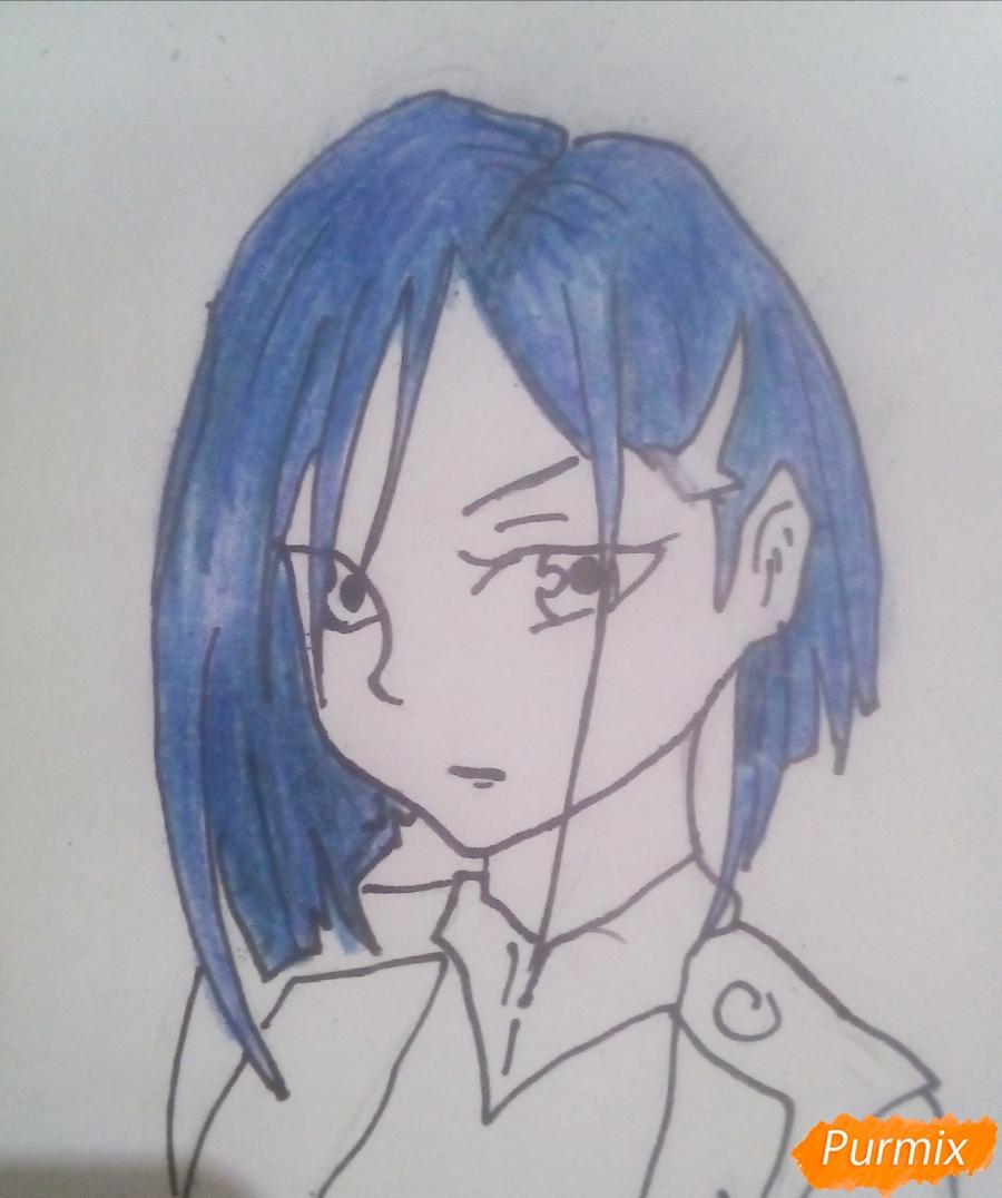 Рисуем Ичиго из аниме Милый Во Франксе карандашами - шаг 7