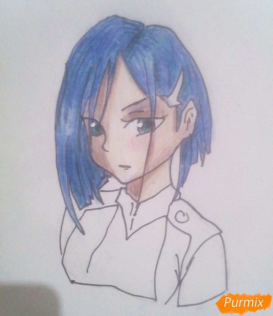 Рисуем Ичиго из аниме Милый Во Франксе карандашами - шаг 8