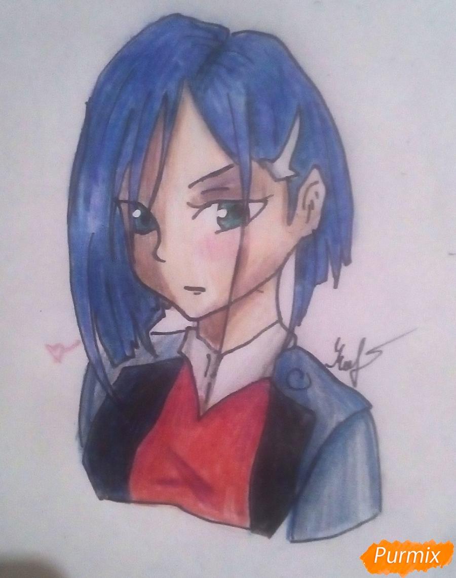 Как нарисовать Ичиго из аниме Милый Во Франксе карандашами поэтапно
