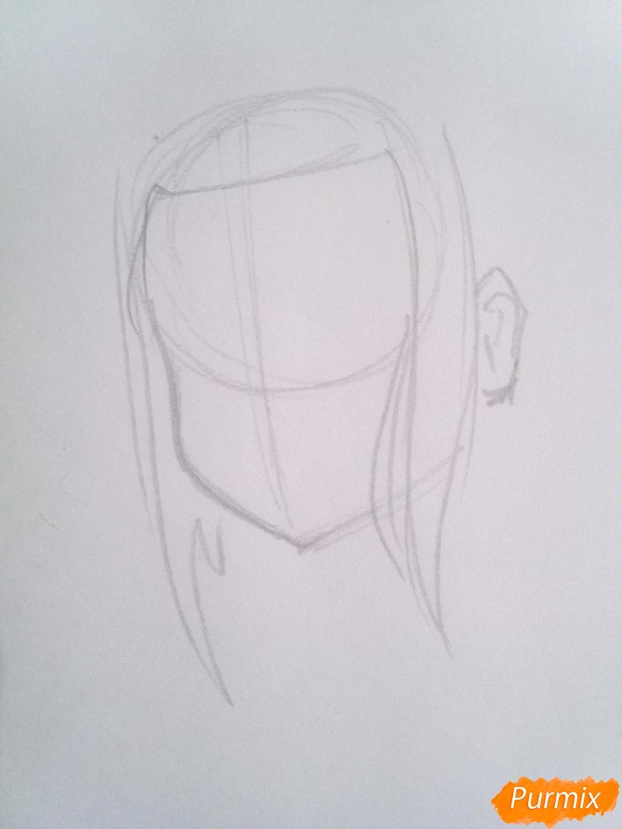 Рисуем Икуно из аниме Милый Во Франксе карандашами - шаг 1