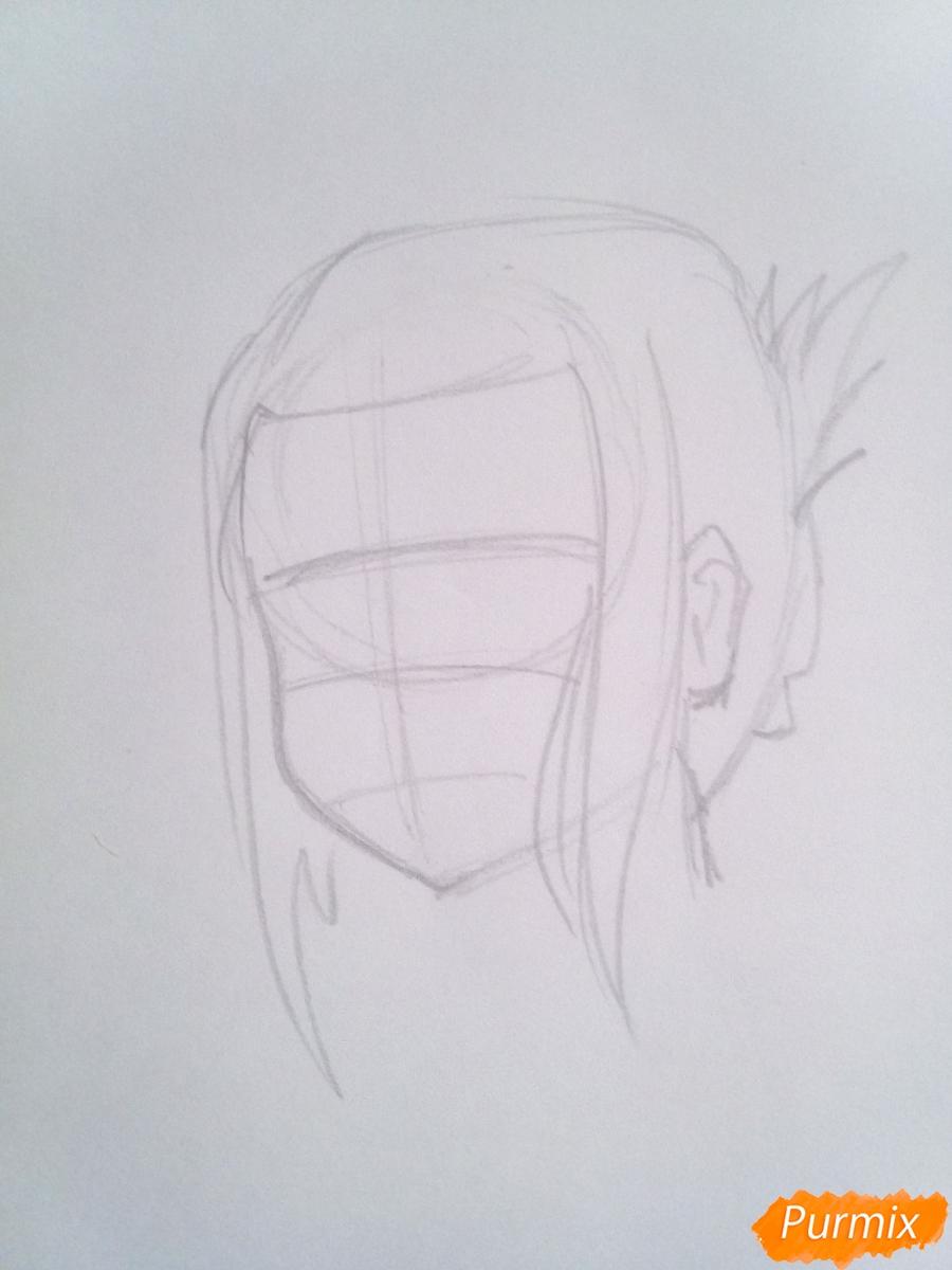 Рисуем Икуно из аниме Милый Во Франксе карандашами - шаг 2